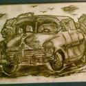 A kocsi , Képzőművészet , Dekoráció, Grafika, Rajz, , Meska