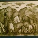 Elefántok, Dekoráció, Képzőművészet , Kép, Grafika, , Meska