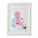 Vintage enteriőr., Dekoráció, Képzőművészet , Kép, Illusztráció, Festészet, Fotó, grafika, rajz, illusztráció, Enteriőr vintage fotellel.  Mérete: A4-es Akvarell papírra készült. Pont passzol egy 21x30-as IKEA k..., Meska