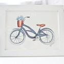 Vintage bicikli-  illusztráció, Dekoráció, Képzőművészet , Kép, Illusztráció, Festészet, Fotó, grafika, rajz, illusztráció, Akvarell papírra készült illusztráció. Méret: 18x 24 cm Pont passzol egy IKEA Nyttja 18x24 keretbe...., Meska