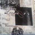 London mintás táska, Táska, Ruha, divat, cipő, Válltáska, oldaltáska, Tarisznya, Varrás, Fehér vászon hátuljú, London mintás, Berlin feliratos újságcikk mintás egyedi táska. Flízzel bélelt..., Meska