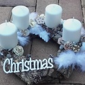 Havas erdő, Dekoráció, Karácsonyi, adventi apróságok, Ünnepi dekoráció, Karácsonyi dekoráció, Virágkötés, Már régen terveztem fenyőkéreg bevonatra adventit készíteni, de a kész alapok nem voltak olyanok am..., Meska