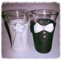 Esküvői pálinkás poharak, Esküvő, Nászajándék, Meghívó, ültetőkártya, köszönőajándék, Esküvői dekoráció, Mindenmás, Egyedi, kézzel készített menyasszony és vőlegény pálinkás poharak.  Kiváló ajándék az ifjú párnak. ..., Meska