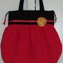 Piros-fekete  válltáska kitűzővel , Otthon, lakberendezés, Táska, Baba-mama-gyerek, Válltáska, oldaltáska, Varrás, Mindenmás, Piros és fekete szövetből készítettem ezt a táskát. A táska felül szűkebb,lefelé hajtásokkal bővül...., Meska
