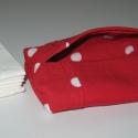Piros pöttyös farmer zsebkendőtartó, Ruha, divat, cipő, Táska, Pénztárca, tok, tárca, Zsebkendőtartó, Varrás, Gyakran csak néhány zsebkendőt szeretnék magamnál tudni, kis táskáimban a 10db is sok. Ezzel Te is ..., Meska