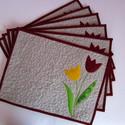 Tulipános tányéralátét szett, Dekoráció, Patchwork, foltvarrás, Varrás, Különleges gépi rátétes technikával készült tulipánokkal díszített 6 db.-os tányéralátét szett. Igé..., Meska