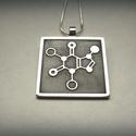Koffein molekula medál, Ékszer, óra, Medál, Koffein molekula medál ezüstből.  A képen látható lánc csak dekoráció, az ár a medálra vonatkozik...., Meska