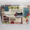 Mini pénztárca, kártya- és irattartó - Párizs, Táska, Pénztárca, tok, tárca, Erszény, Pénztárca, Varrás, Minőségi pamutvászonból készült kis méretű pénztárca, amelyben elférnek a bankkártyák és iratok is...., Meska