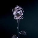Üvegrózsa, Képzőművészet, Esküvő, Dekoráció, Szobor, Üvegművészet, Látványosan, élethűen elkészített víztiszta üvegrózsa.  40cm , Meska