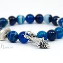 A sellőlány ékszere - kék achát ásványkarkötő csiga medállal, Ékszer, óra, Karkötő, Ékszerkészítés, Szépséges, 8 mm-es kék-tarka achát ásványgyöngyökből, fém virágos és fésűkagyló köztesekből fűztem ..., Meska