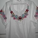 Kalocsai blúz, Ruha, divat, cipő, Női ruha, Blúz, Hímzés, kalocsai himzett bluz méretre elkészitem, Meska