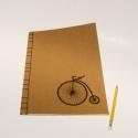 'Velocipéd'. RENDELHETŐ. A/4-es méretű füzet. Kézzel fűzött, kézzel rajzolt régi bicikli; natúr borító, Naptár, képeslap, album, Mindenmás, Baba-mama-gyerek, Jegyzetfüzet, napló, Ez a füzet már elkelt, de ha tetszik, készítek Neked is ugyanilyet vagy hasonlót, írj belső üzenetet..., Meska