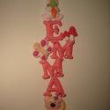 Emma függő dísz filcből, Baba-mama-gyerek, Dekoráció, Gyerekszoba, Dísz, Virágkötés, Egy kislánynak készítettem ezt a rózsaszín függő díszt, akinek a nyuszi és a maci a kedvenc állata...., Meska