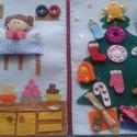 Angyalkás játszókönyv, filcből, Dekoráció, Játék, Ünnepi dekoráció, Karácsonyi, adventi apróságok, Varrás, Patent, cipzár, gomb, horgas kapocs, tépőzár használatára tanítja a gyerekeket ez a kis füzet. Filc..., Meska
