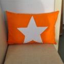Csillag Párna, Otthon, lakberendezés, Lakástextil, Ágynemű, Varrás, Mindenmás, Csillag párna .A párna narancsszínű vászonból készült , az előlapjára kézzel varrt fehér csillag ke..., Meska