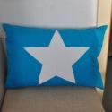 Csillag Párna, Otthon, lakberendezés, Lakástextil, Ágynemű, Varrás, Mindenmás, Csillag párna .A párna kék vászonból készült , az előlapjára kézzel varrt fehér csillag került !  M..., Meska