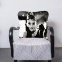 Art deco Audrey Hepburn, Bútor, Otthon, lakberendezés, Szék, fotel, Mindenmás, Festett tárgyak, Egyedi tervezésű Art deco fotel ,amely kiválóan mutat a hálószobánkban. A fotel fa része feketére l..., Meska