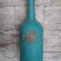 Türkiz kék váza, Dekoráció, Otthon, lakberendezés, Dísz, Kaspó, virágtartó, váza, korsó, cserép, Festett tárgyak, Türkiz kék színű, enyhén márványos hatású váza született, egy nagyobb méretű borosüvegből.  Az üveg..., Meska