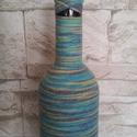 Tarkabarka váza II, Dekoráció, Otthon, lakberendezés, Dísz, Kaspó, virágtartó, váza, korsó, cserép, Mindenmás, Színátmenetes pamutfonallal tekertem be egy borosüveget, így született meg ez a nagyon vidám hangul..., Meska