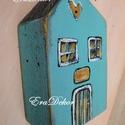 Vintage ház-Türkiz-AZONNAL ELVIHETŐ, Baba-mama-gyerek, Dekoráció, Esküvő, Gyerekszoba, Rusztikus faházak pénzátadásra. Esküvőre, ballagásra,szülinapra,karácsonyra.   Titkos üzenet vagy pa..., Meska