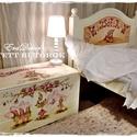 Virág Manók, Baba-mama-gyerek, Gyerekszoba, Gyerekbútor, Tárolóeszköz - gyerekszobába, .Keresztelőre mesés játéktároló láda.  Névre  szóló ajándék, örök emlék és hasznos bútor a gyerekszo..., Meska