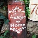Vintage cserép, Otthon, lakberendezés, Utcatábla, névtábla, Kaspó, virágtartó, váza, korsó, cserép, Kerti dísz, Festett tárgyak, Romantikus vintage  felírat régi, bontott cserépből. Igazi,antik cserép, szép érett színe miatt, sa..., Meska