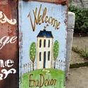 Vintage  dekoráció, Dekoráció, Otthon, lakberendezés, Utcatábla, névtábla, Kerti dísz, Antik cserép újrahasznosítva. Festett házszámtábla, utcatábla, kerti dekoráció lehet belőle. Jól bír..., Meska