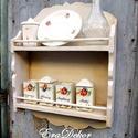 Vintage  fűszertartó polc AZONNAL ELVIHETŐ, Konyhafelszerelés, Baba-mama-gyerek, Bútor, Fűszertartó, Festett tárgyak, Vintage  romantika a konyhában. Egy régi polc átalakult, antikolt fehér festést kapott. A festés na..., Meska