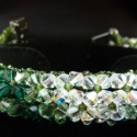 Zöld csíkos kristály karkötő, Ékszer, óra, Karkötő, , Meska