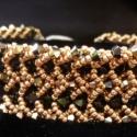 Fekete-arany flat spiral Swarovski karkötő, Ékszer, óra, Karkötő, , Meska