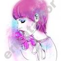 """Lila lány póló (M-es, rózsaszín), Ruha, divat, cipő, Női ruha, Felsőrész, póló, Mindenmás, Ezt a romantikus, meseszerű \\\""""lila lány\\\"""" rajzomat egy babarózsaszín pólóra nyomtattam, hogy te..., Meska"""