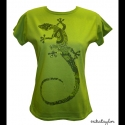 Gekkós póló (XL-es, zöld), Ruha, divat, cipő, Női ruha, Felsőrész, póló, Mindenmás, A zöld szín szinte minden árnyalata megtalálható ezen az egzotikus gekkón, amit egy élénk kiwizöld ..., Meska