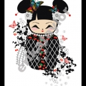Gésa/baba póló (S-es, fehér), Ruha, divat, cipő, Női ruha, Felsőrész, póló, Mindenmás, Gésa vagy porcelánbaba? Esetleg mindkettő? Ezt a kedves kis rajzot a keleti kultúrák rajongóinak ké..., Meska