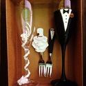 Esküvői pohár és tortavilla szett, Esküvő, Esküvői dekoráció, Gyurma, Az esküvői pohár és tortavilla megalkotásánál süthető gyurmát használtam. A rózsák színe változtath..., Meska