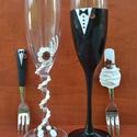 Barna esküvői szett, Esküvő, Nászajándék, Esküvői dekoráció, Gyurma, Az esküvői pohár és tortavilla megalkotásánál süthető gyurmát használtam. A rózsák színe változtath..., Meska