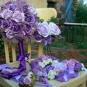 Lila menyasszonyi, esküvői szett, Esküvő, Ruha, divat, cipő, Esküvői csokor, Hajdísz, ruhadísz, Gyöngyfűzés, Virágkötés, Az öv kivételével, melyet kézzel készített virágokból alkottam, a szett habvirágokból készült, mely..., Meska