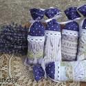 Levendulás, pöttyös- csipkés illatzsákok, Dekoráció, Gyönyörű levendulás textil és lila alapon pöttyös pamutvászon kombinációjából készült, fehér pamutcs..., Meska