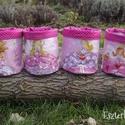Tündéres textil tároló szettben (4 db), Baba-mama-gyerek, Otthon, lakberendezés, Gyerekszoba, Tárolóeszköz - gyerekszobába, Koptatott rózsaszín alapon kedves tündérmintás, újrahasznosított sötétítőfüggönyből készült textil t..., Meska