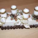 Fehér-arany adventi asztaldísz, Dekoráció, Ünnepi dekoráció, Karácsonyi, adventi apróságok, Karácsonyi dekoráció, , Meska