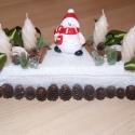 Karácsonyi asztaldísz fehér - zöld, Dekoráció, Karácsonyi, adventi apróságok, Karácsonyi dekoráció, Ünnepi dekoráció, , Meska