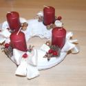Adventi koszorú fehér - bordó, Dekoráció, Karácsonyi, adventi apróságok, Karácsonyi dekoráció, Ünnepi dekoráció, , Meska