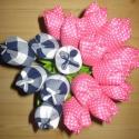 Tulipán csokor textilből - kék, pink, Dekoráció, Otthon, lakberendezés, Ünnepi dekoráció, Varrás, Virágkötés, Textilből készült tulipán csokor, kék és pink színekben.  Örök emlék lehet születésnapra, névnapra,..., Meska