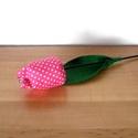 Tulipán szálak textilből - pink, Dekoráció, Húsvéti apróságok, Varrás, Virágkötés, Állítsd össze saját csokrodat!  Tulipán szálak darabra.  Textilből, pamutvászonból készült tulipán ..., Meska