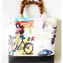 Irány Firenze - táska, Táska, Válltáska, oldaltáska, Mindenmás, Varrás, Minőségi textil, és valódi bőr kombinálásával készült táska.  A táska húzózárral zárul, bélése pött..., Meska