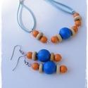 Kék és narancssárga színekbe öltözött - fagyöngyös szett, Ékszer, óra, Ékszerszett, Fülbevaló, Karkötő, Ékszerkészítés, Gyöngyfűzés, Egyedi alkotás, nem készül több ilyen :)  Kék és narancssárga fagyöngyök natúr fakorongokkal,hasíto..., Meska
