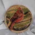 Kardinálispinty - Cardinalis cardinalis...Kép, Dekoráció, Otthon, lakberendezés, Dísz, Kép, Festett tárgyak, Kerámia, A kardinálispinty (Cardinalis cardinalis) a madarak osztályának verébalakúak (Passeriformes) rendjé..., Meska