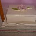Vajtartó - Rózsaszín Rózsa, Dekoráció, Otthon, lakberendezés, Kaspó, virágtartó, váza, korsó, cserép, Kerámia, Festett tárgyak, Méretei: rózsa magasságától a legszélesebb pontig: 8,5/18,5cm, Meska