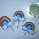 12 db Cupcake / Muffin / Süti Dísz, Szívárvány színei, Születésnapra, Dekoráció, Esküvő, Ünnepi dekoráció, Esküvői dekoráció, Papírművészet, Kézzel készített Cupcake / Muffin / Süti Díszek SZÍVÁRVÁNY   Tökéletes kiegészítő lehet születésnap..., Meska