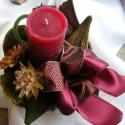 Protea asztaldísz, Otthon, lakberendezés, Dekoráció, Gyertya, mécses, gyertyatartó, Dísz, Mindenmás, Arany és bordó csíkos kerámia tál száraz virágokkal és gyertyával díszítve. A rögzítéshez oázist és..., Meska