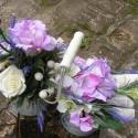Levendulák Duettje, Dekoráció, Otthon, lakberendezés, Esküvő, Esküvői dekoráció, Virágkötés, Antik stílusú dupla fém vödörbe nyári virágokat komponáltam.Rózsa,Lizianthusz,Hortenzia,Levendula.Eg..., Meska